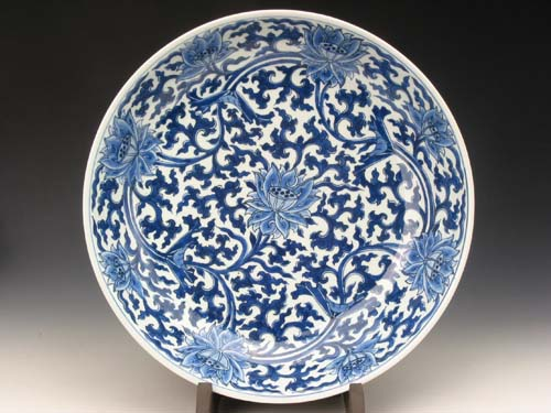 Big Plate with Blue Flower and Lotus Pattern during Kangxi Reign Periods of the Qing Dynasty