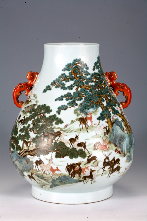Famille Rose Vase with Double Ears and Deer Figure during Qianlong Reign Periods of the Qing Dynasty