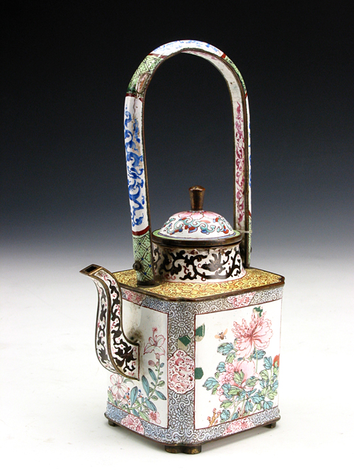 Enamel Copper Loop-handled Teapot in the Qing Dynasty
