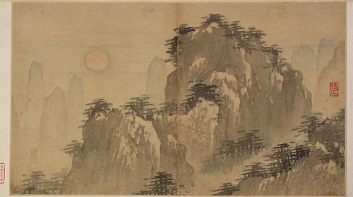 Figure and Landscape Painting Drawn by Zhang Lu in the Ming Dynasty