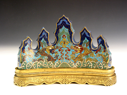 Enamel Pen Rack with Wave and Double Dragon Pattern during Qianlong Reign Periods of the Qing Dynasty