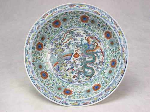 Big Plate with Flying Dragon and Dancing Phoenix Pattern during Yongzheng Reign Periods of the Qing Dynasty